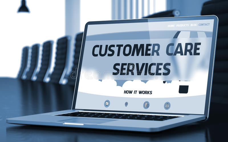 顾客关心为在膝上型计算机屏幕上的概念服务 3d 皇族释放例证