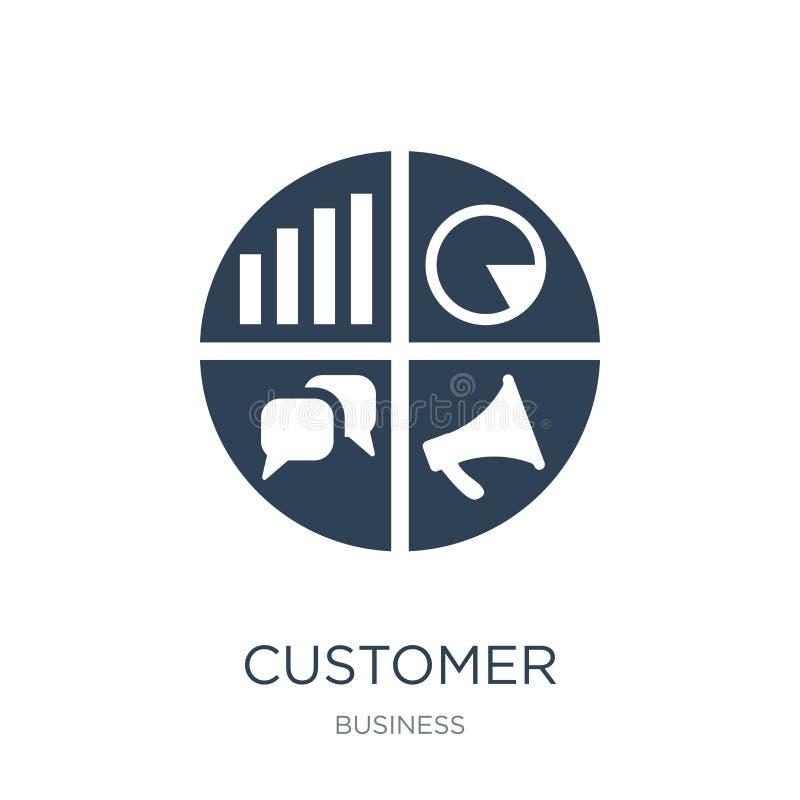 顾客关系在时髦设计样式的管理象 顾客关系在白色背景隔绝的管理象 皇族释放例证
