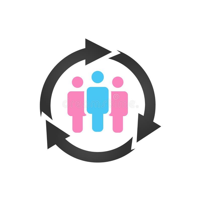顾客关系管理,与箭头的社区象 在空白背景查出的向量例证 向量例证