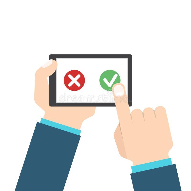 顾客回顾或反馈概念 在巧妙的电话的评估系统 也corel凹道例证向量 皇族释放例证