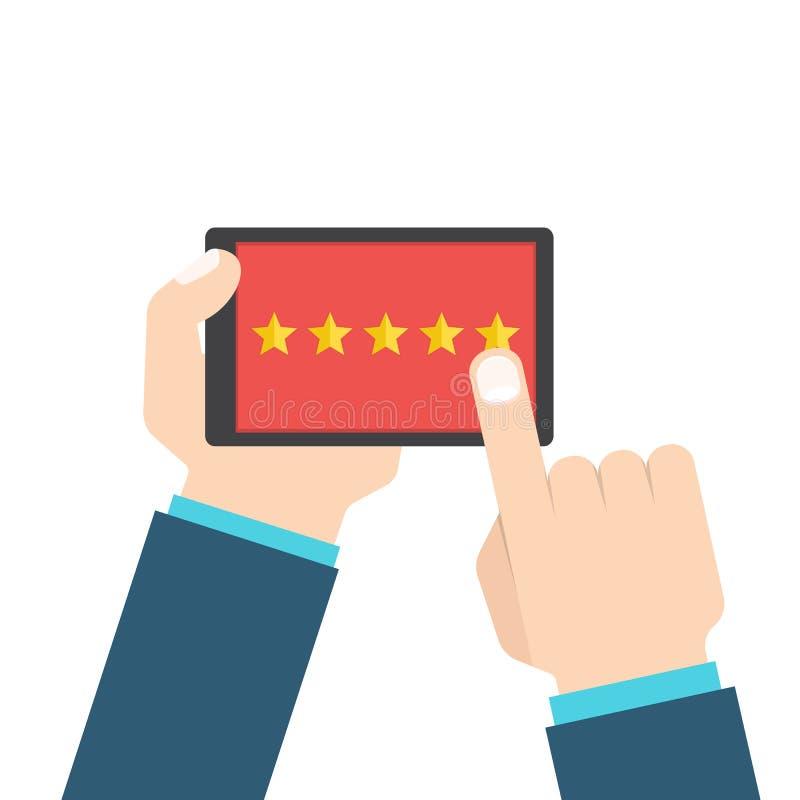 顾客回顾或反馈概念 在巧妙的电话的评估系统 也corel凹道例证向量 向量例证