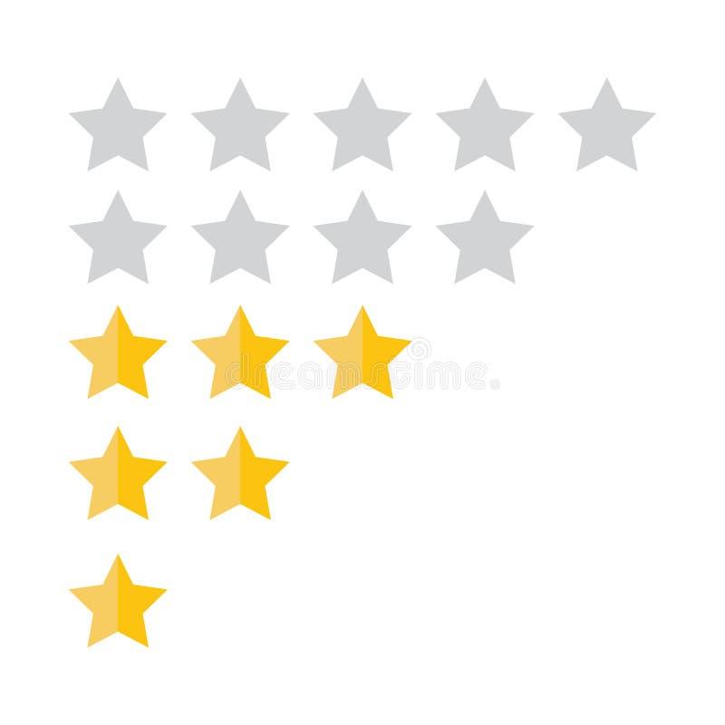 顾客回顾概念 向量 对估计的金黄星 反馈, 向量例证