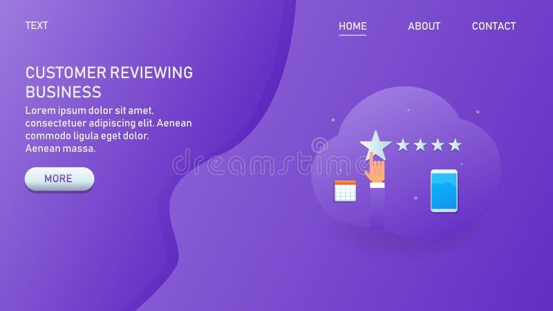 顾客回顾网上事务的,手点击在星的,产品和服务评估,网横幅 皇族释放例证