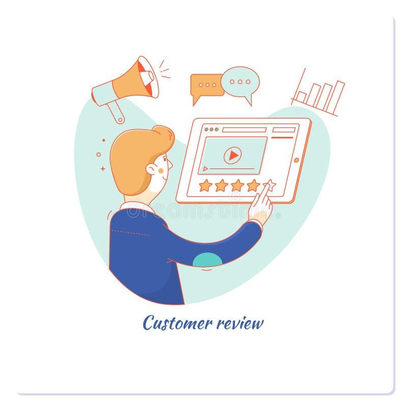 顾客回顾,实用性评估,反馈,证明书,喜欢,通信 也corel凹道例证向量 库存例证