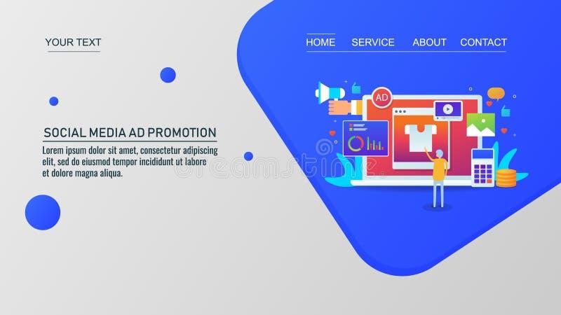 顾客在社会媒介、数字行销和广告,网上广告促进,传染媒介网横幅的浏览广告 向量例证