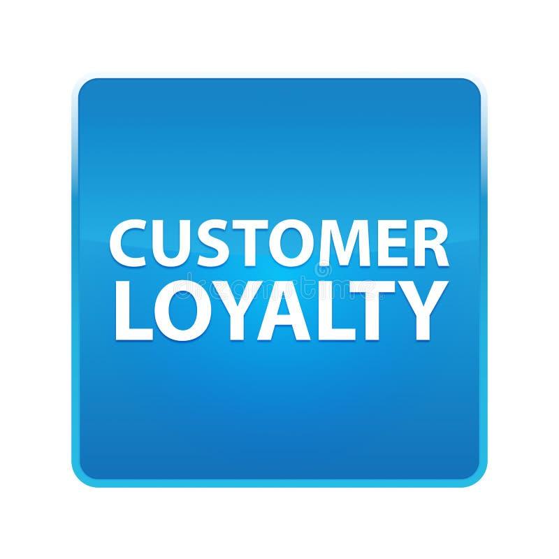 顾客忠诚发光的蓝色方形的按钮 皇族释放例证