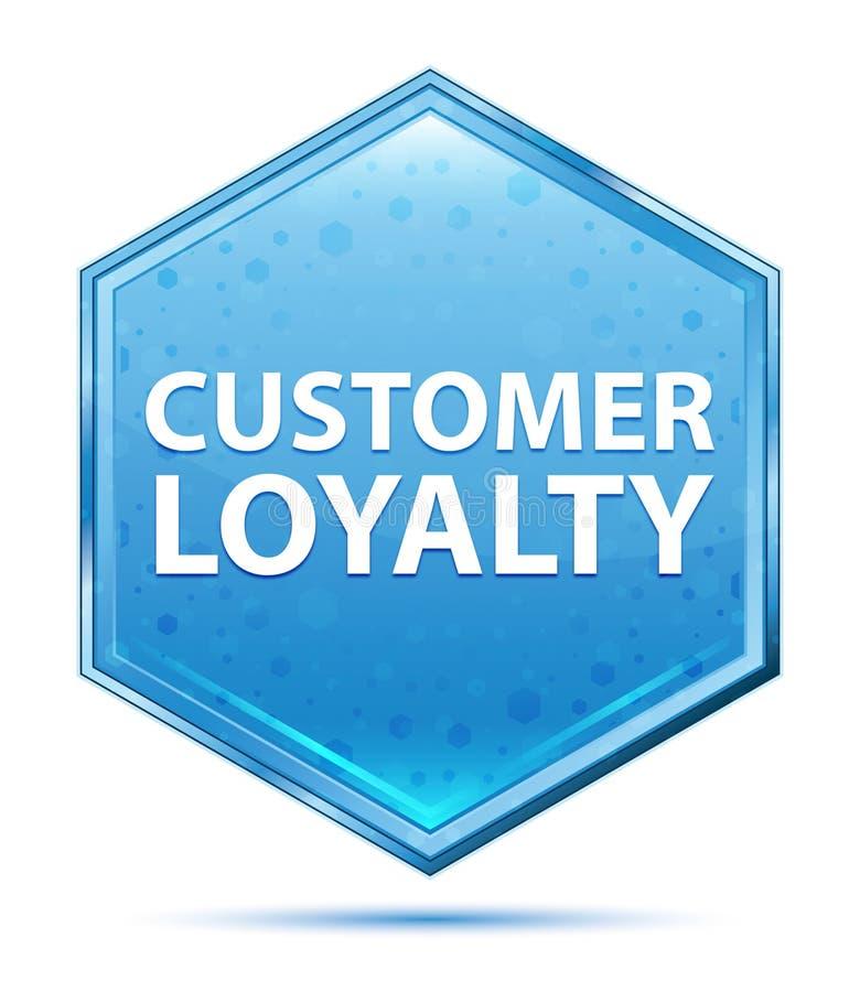 顾客忠诚水晶蓝色六角形按钮 向量例证