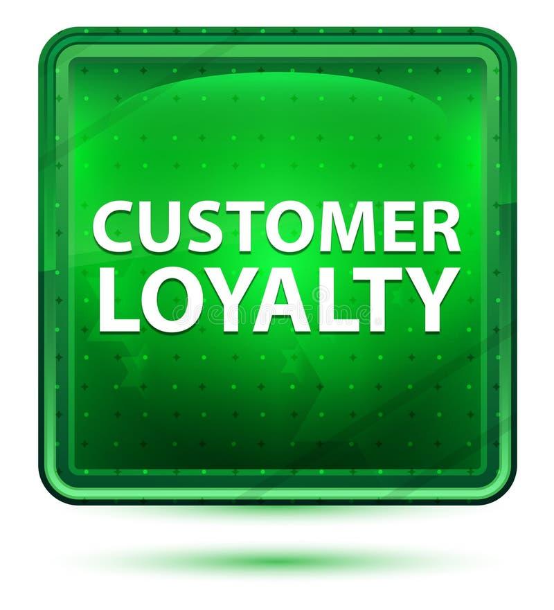 顾客忠诚霓虹浅绿色的方形的按钮 皇族释放例证