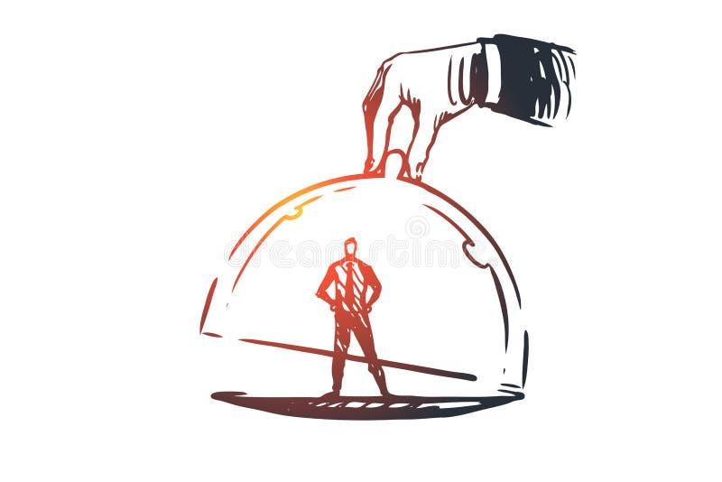 顾客忠诚,事务,营销,服务概念 手拉的被隔绝的传染媒介 皇族释放例证