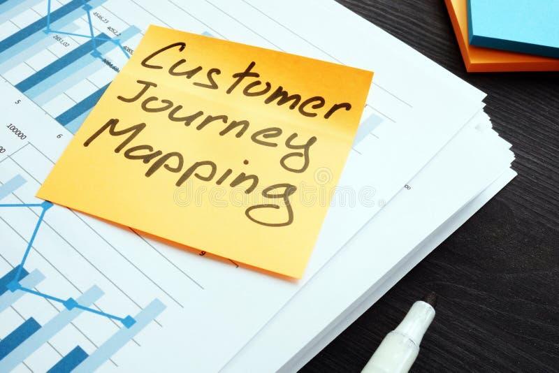 顾客旅途映射 堆与报告的纸 库存图片