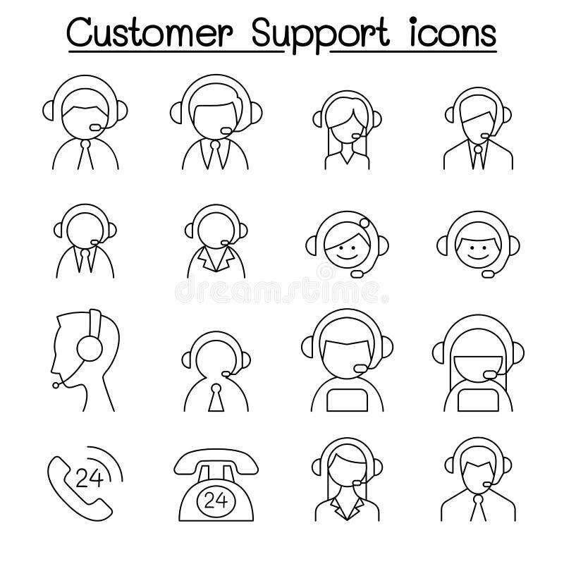 顾客服务&电话中心象在稀薄的线型设置了 向量例证