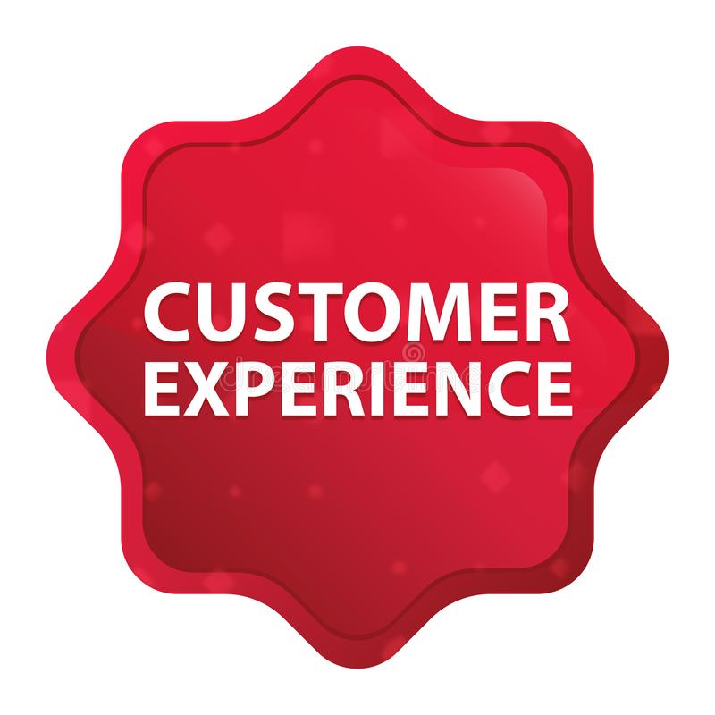 顾客经验有薄雾的玫瑰红的starburst贴纸按钮 向量例证
