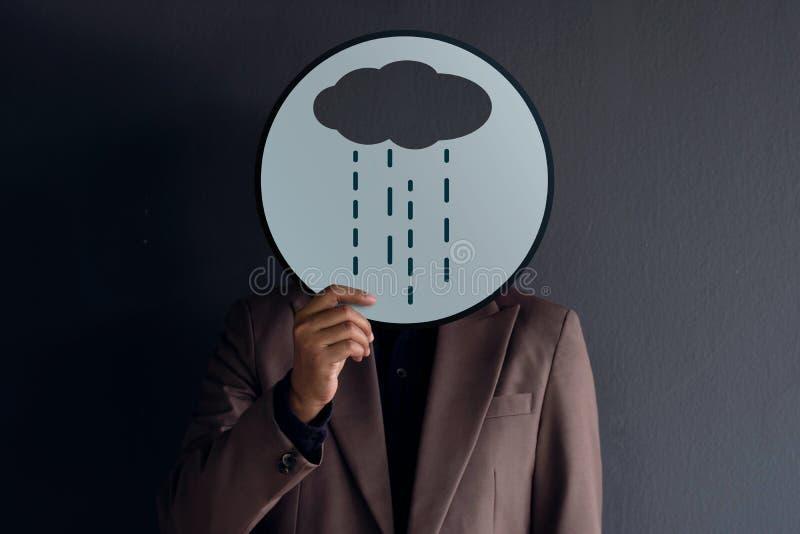顾客经验概念,客户画象充满悲伤的或 免版税库存照片