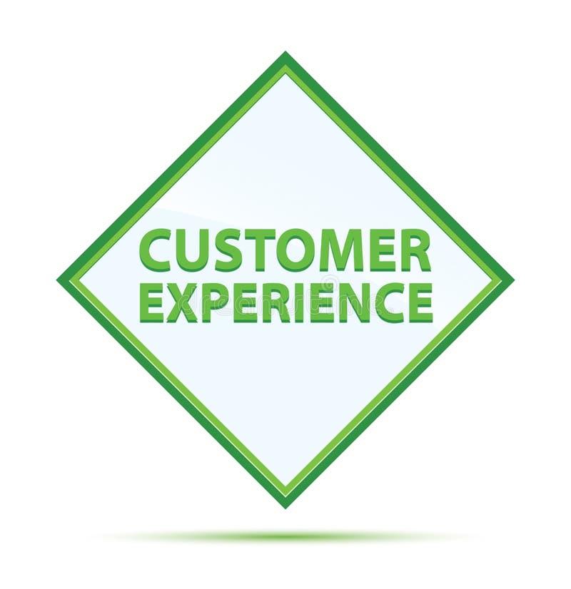 顾客经验现代抽象绿色金刚石按钮 库存例证