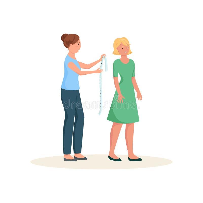 顾客裁缝测量的成长有在白色背景隔绝的磁带的 向量例证