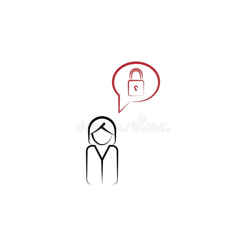 顾客认为锁2种族分界线象 简单的色素例证 顾客认为锁概述标志设计 向量例证