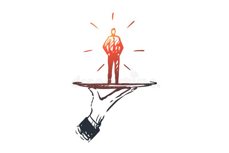 顾客,事务,服务,帮助,客户概念 手拉的被隔绝的传染媒介 向量例证