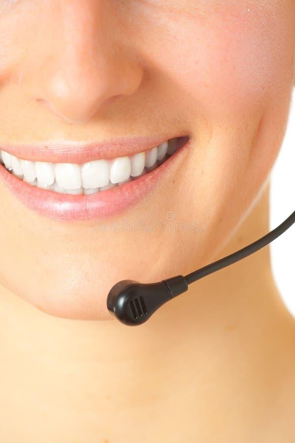 顾问耳机妇女 免版税库存图片