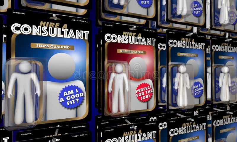 顾问选择工作的3d Illustr最佳的专家的聘用上面人 向量例证