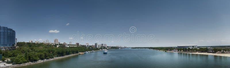 顿河畔罗斯托夫和河唐全景  俄国 免版税图库摄影