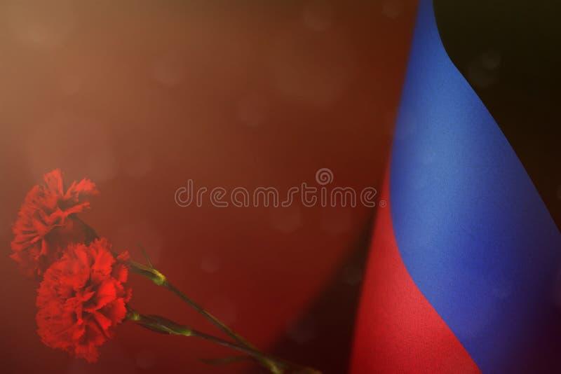 顿涅茨克人共和国旗子为退伍军人荣誉或与两朵红色康乃馨花大模型的阵亡将士纪念日 荣耀向顿涅茨克 免版税库存照片