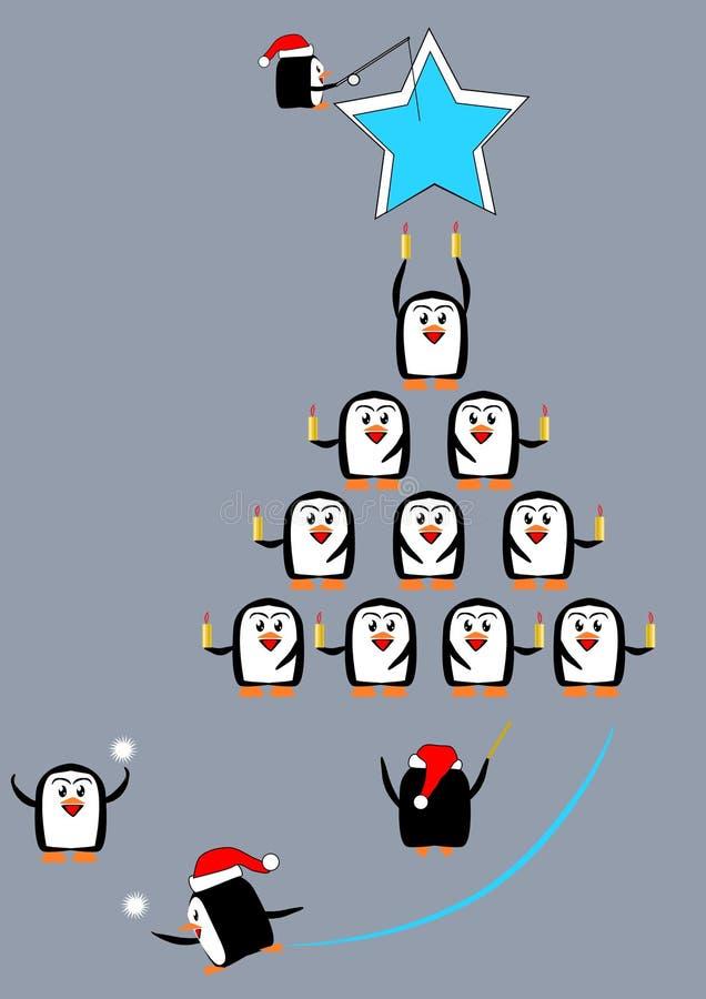 颂歌圣诞节企鹅 向量例证