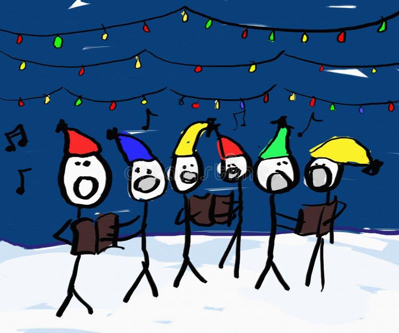 颂歌圣诞节歌唱家 向量例证