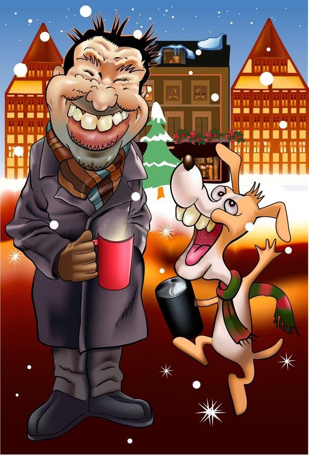 颂歌圣诞节狗人 向量例证