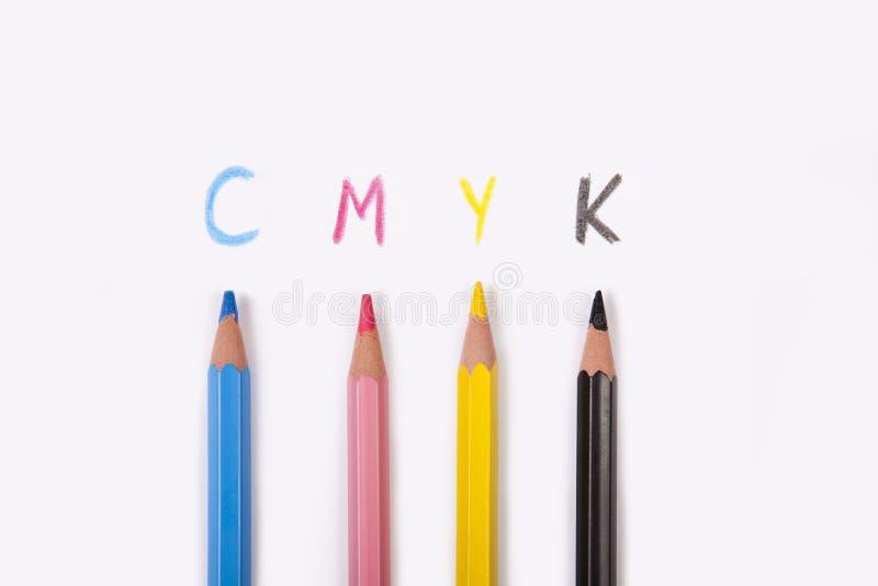 预先压制颜色cmyk概念性艺术背景 免版税库存照片
