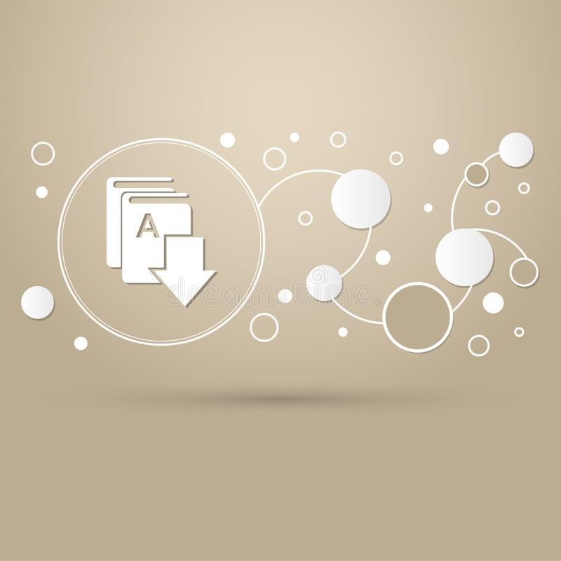 预定下载、e-象在棕色背景与典雅式样和infographic的现代设计 库存例证