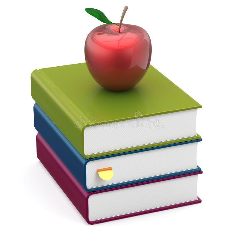预定五颜六色的学习象的苹果红色堆课本 库存例证