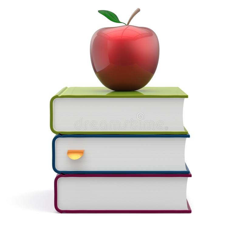 预定五颜六色的空白的堆红色苹果课本智慧象 向量例证