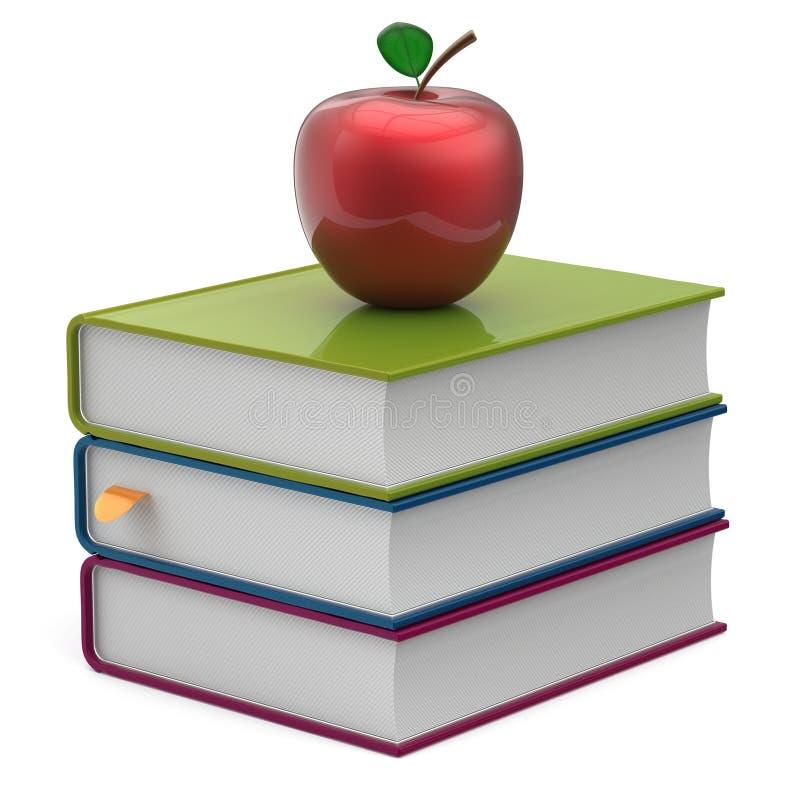预定五颜六色的空白的堆红色苹果课本象 库存例证