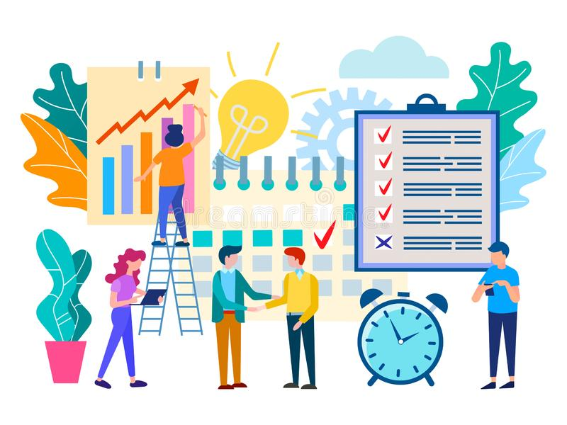 预定会议在办公室,企业合作 库存例证