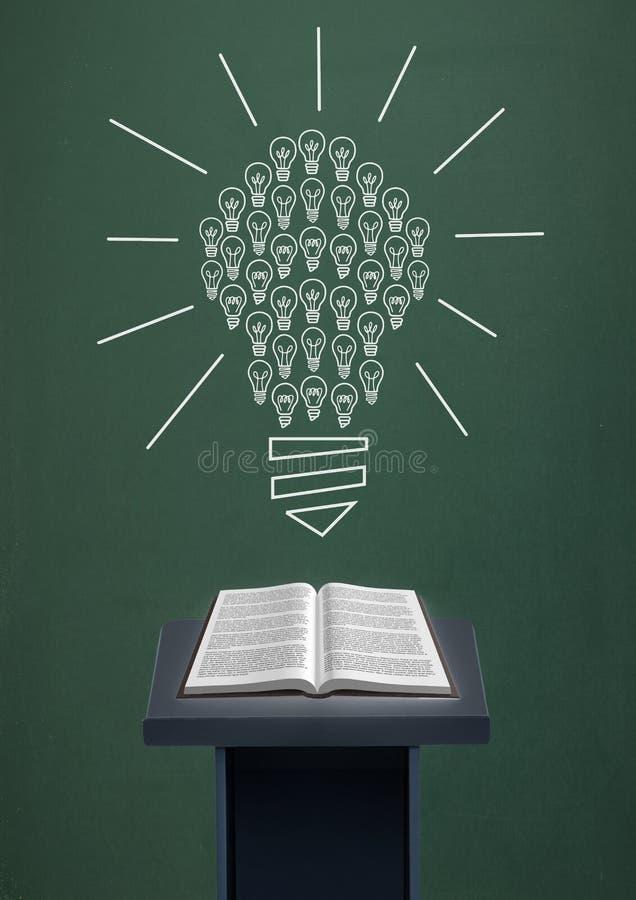 预定在讲话桌上反对有电灯泡图表的绿色黑板 库存例证