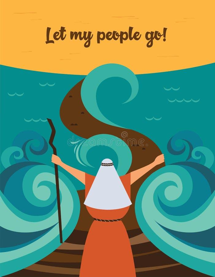 预定的摩西分裂红海和让我的人民出去埃及 犹太假日逾越节故事  向量例证