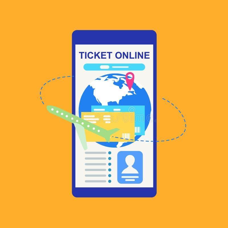 预定的票在网上与电话传染媒介概念 向量例证