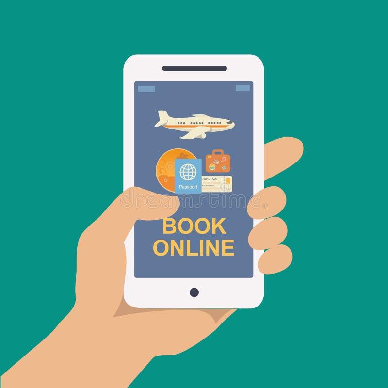 预定的网上旅行或票 向量例证