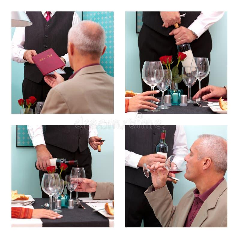 预定的酒在餐馆 免版税库存照片
