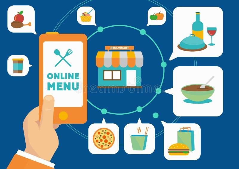 预定的食物在网上与智能手机应用 免版税库存照片