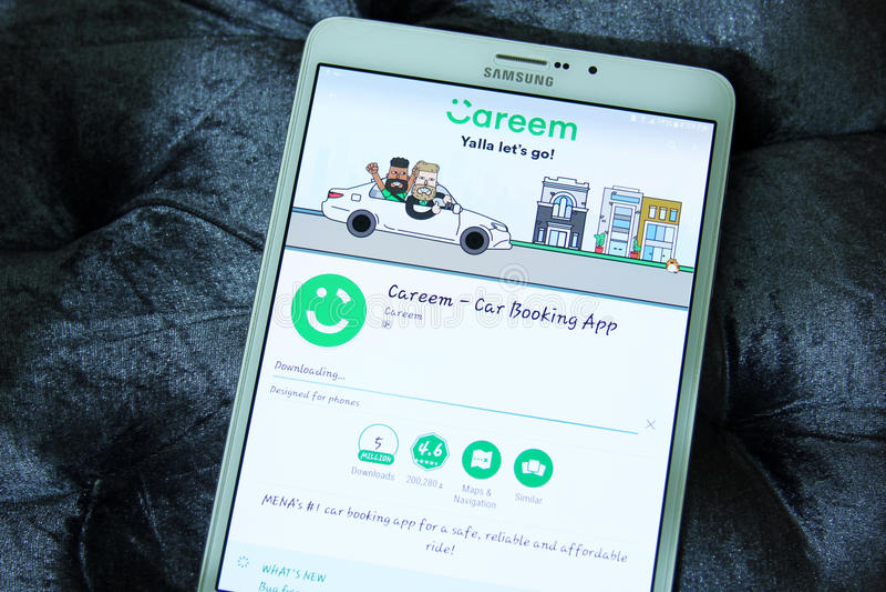 预定app的Careem汽车 免版税库存图片