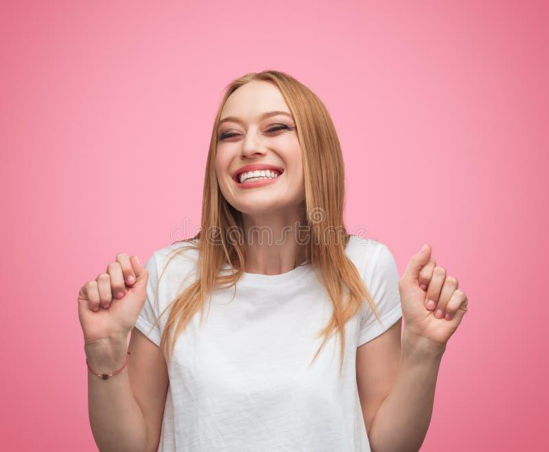 预期的超级激动的妇女 免版税库存照片