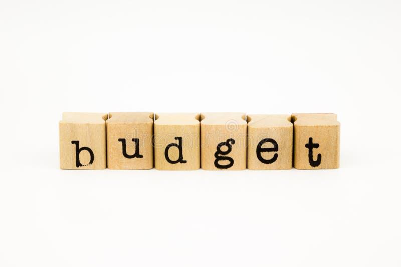 预算在白色背景的字词孤立 免版税库存照片