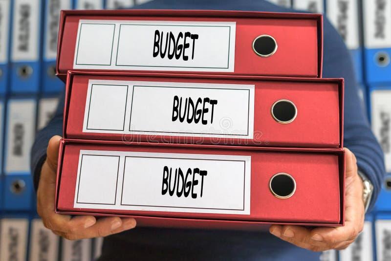预算概念词 3d概念被回报的文件夹照片 圆环包扎工具 免版税图库摄影