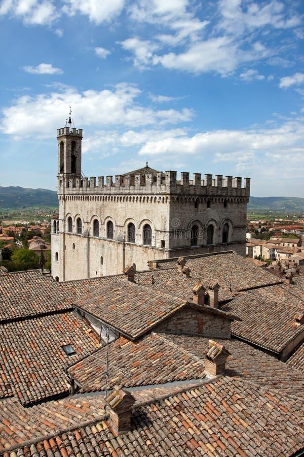 领事宫殿在Gubbio的有历史的中心 免版税图库摄影