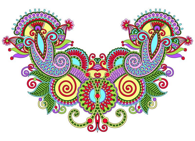 领口华丽花卉佩兹利刺绣时尚 向量例证