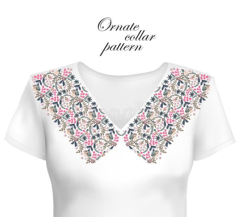 领口种族设计 花卉五颜六色的传统样式 与装饰元素的传染媒介印刷品刺绣的,为 库存例证
