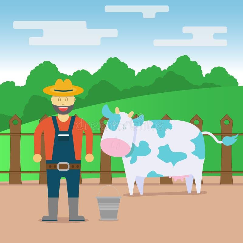领域、农夫和母牛平的母牛的农村例证设计 库存例证