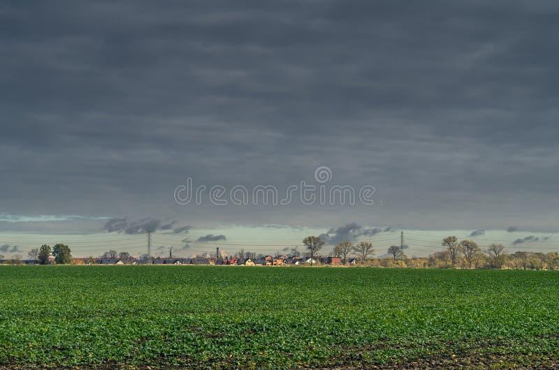 领域在乡下在钢天空下 免版税图库摄影
