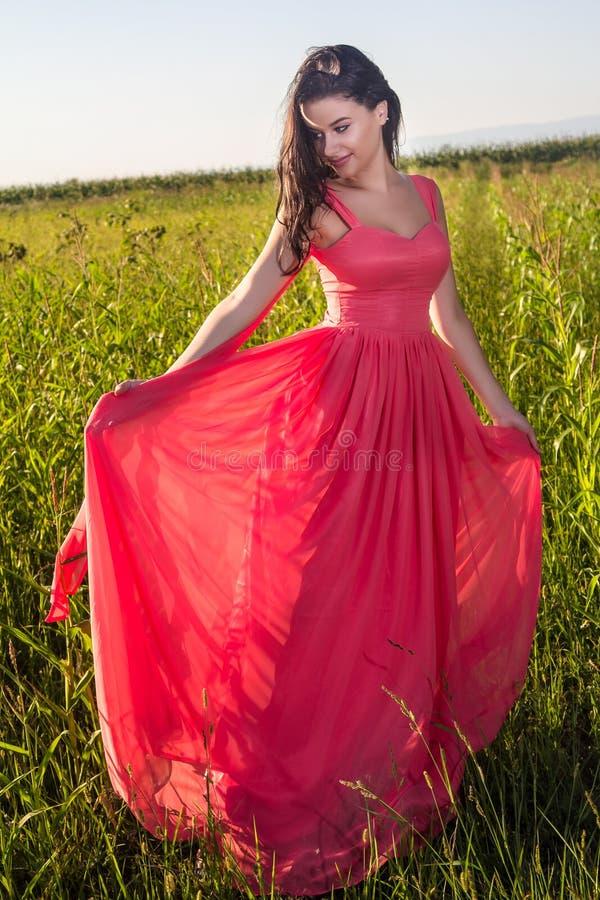 领域的年轻美丽的妇女 免版税库存图片
